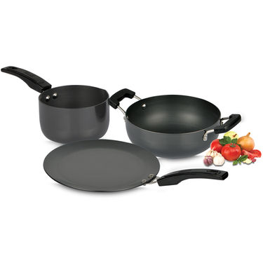 3 Pcs Hard Anodized Cookware