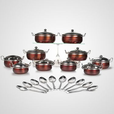 30 Pcs Colored Stainless Steel Serving Set