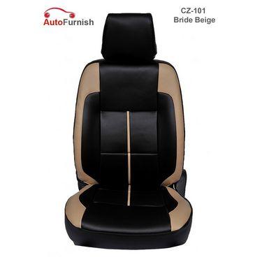 Autofurnish (CZ-101 Bride Beige) Honda Jazz (2009-10) Leatherite Car Seat Covers-3001085