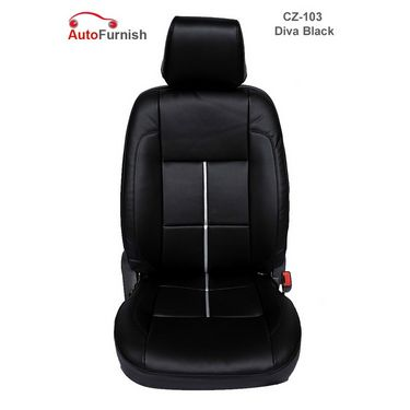 Autofurnish (CZ-103 Diva Black) Tata Safari Dicor 3.0L (2006-09) Leatherite Car Seat Covers-3001681