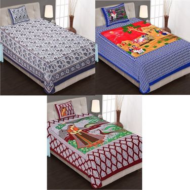 Set of 3 Jaipuri Cotton Single King Size Bedsheets With 3 Pillow Covers -100C1