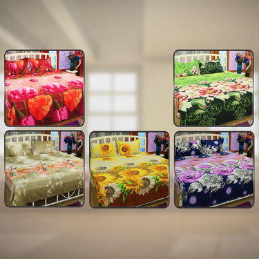 3D Floral Bedsheet with 2 Pillow Covers - Pick Any 1
