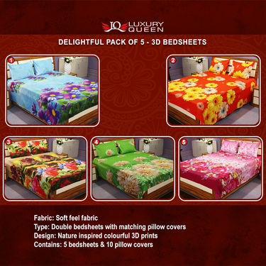 Delightful Pack of 5 - 3D Bedsheets (5BS18)