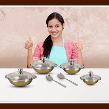 4 Pcs Stainless Steel Colored Handi Set with 2 Spoon