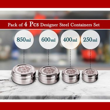4 Pcs Designer Steel Container Set