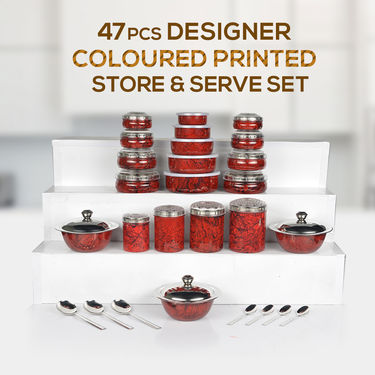 47 Pcs Coloured Printed Store & Serve Set