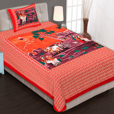 Set of 8 King Size Jaipuri Cotton Printed 4 Double 4 Single Bedsheet With 12 Pillow Cover-4D4S90X108B3