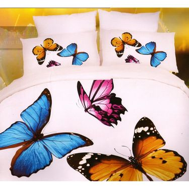 Valtellina Butterfly 4D Print Double Bed Sheet With 2 pillow covers-4FG-08