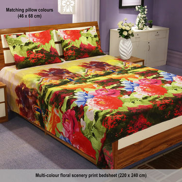 5 - 3D Double Bedsheets + 10 Pillow Covers Anandit Collection (5BS18)