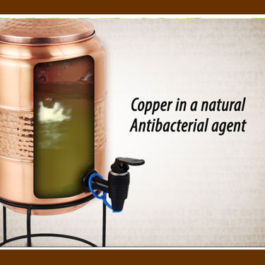 Mr. Copper 5 Ltr Copper Dispenser & Stand with 2 Copper Bottles