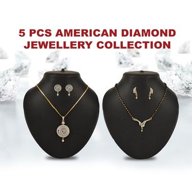 5 Pcs American Diamond Jewellery Collection