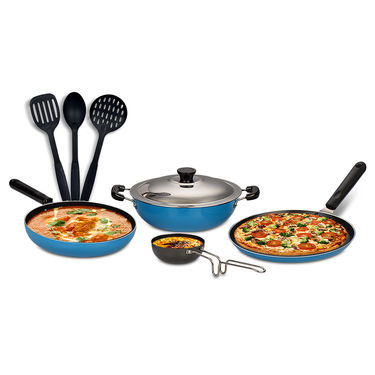 5 Pcs Colored Non Stick Cookware Set + 3 Pcs Kitchen Tools