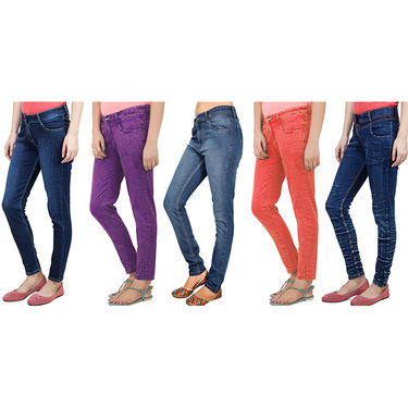 Pack Of 5 Uber Urban Stretchable Colored Denims