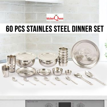 60 Pcs Stainless Steel Dinner Set
