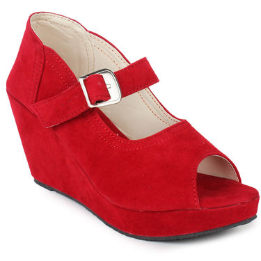 Do Bhai Suede Heels 6050-Red