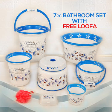 7 Pcs Bathroom Set with Free Loofa