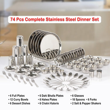 74 Pcs Complete Stainless Steel Dinner Set