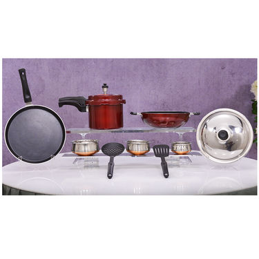 8 Pcs Colour NonStick & Cooker Combo