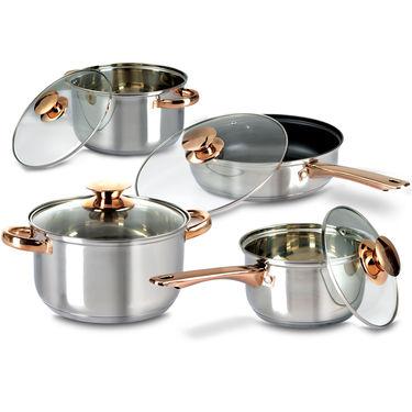 8 Pcs Golden Handle Cookware Set