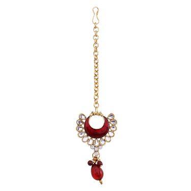 Vendee Fashion Kundan Chokari Necklace Set - Maroon _ 8477