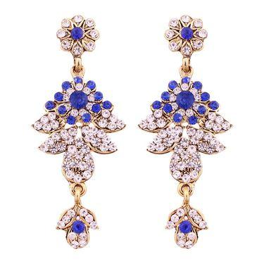 Vendee Fashion Kundan Antique Delicate Necklace Set - Royal Blue _ 8498