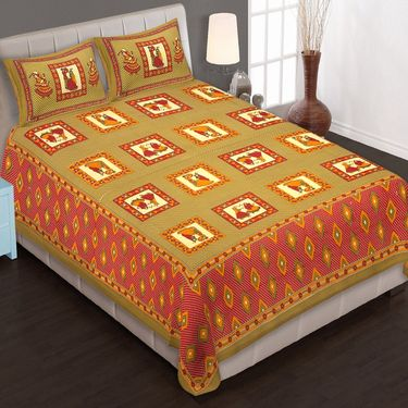 Set of 10 Jaipuri Cotton Sanganeri Printed  Double Bedsheets With 20 Pillow Covers-PF1D10BWP