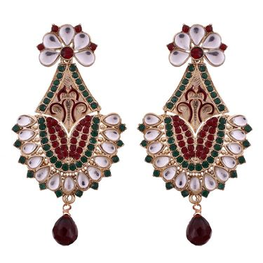 Vendee Fashion Kundan Antique Delicate Necklace Set - Red & Green _ 8525
