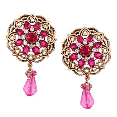 Vendee Fashion Kundan Round Glass Drop Earrings - Pink & Golden _ 8534