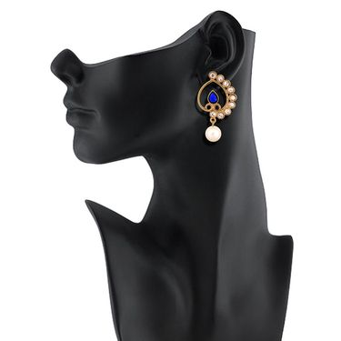 Vendee Fashion Awesome Pearl Earrings - Blue & Golden _ 8540