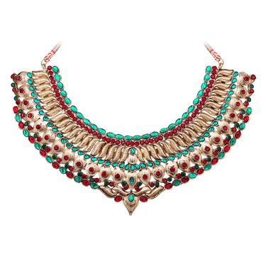 Vendee Fashion Kundan Ancient Design Necklace Set - Maroon & Green _ 8609