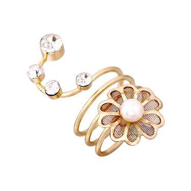 Vendee Fashion Adjustable Twist Around your finger Gold Metal Ring - Golden _ 8611
