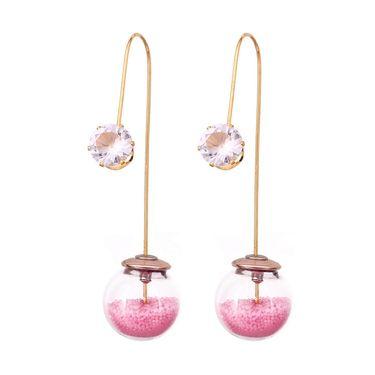 Vendee Fashion Kundan Unique Dangle Earrings - Pink _ 8614A
