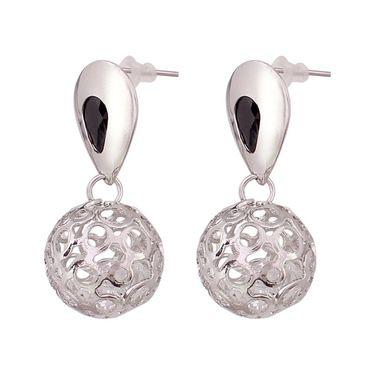 Vendee Fashion Kundan Musical Earrings - Silver & Black _ 8617