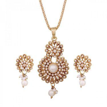 Vendee Fashion Stylish Pendant Set - Golden & White