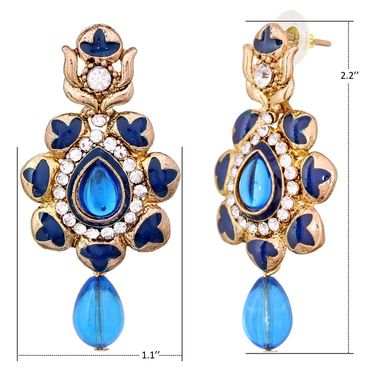 Vendee Fashion Stylish Earrings - Blue
