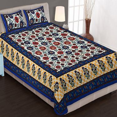 Set of 8 King Size Cotton Jaipuri Sanganeri Printed Bedsheets With 16 Pillow Covers-X108C3