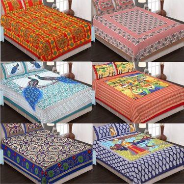 Set of 6 King Size Cotton Jaipuri Sanganeri Printed Bedsheets With 12 Pillow Covers-B6C2