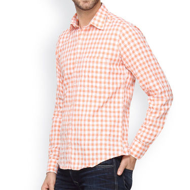 Crosscreek Full Sleeves Cotton Casual Shirt_304 - Orange