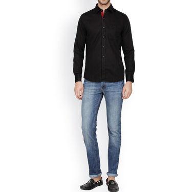 Crosscreek Full Sleeves Cotton Casual Shirt_318 - Black