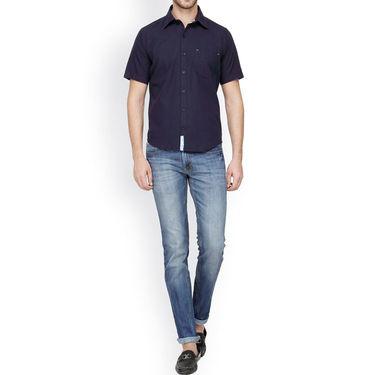 Crosscreek Half Sleeves Cotton Casual Shirt_327 - Blue