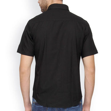 Crosscreek Half Sleeves Cotton Casual Shirt_328 - Black
