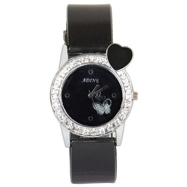 Adine Analog Round Dial Watch For Women_AD110011 - Black