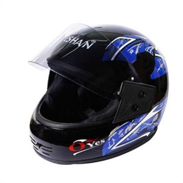 Branded Eshan Oyes Black Full Face Helmet Blue Graphics
