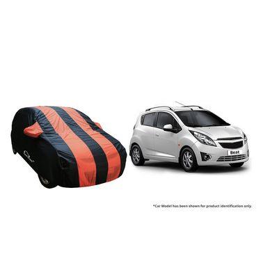 Autofurnish Stylish Orange Stripe Car Body Cover For Chevrolet Beat  -AF21124