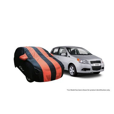 Autofurnish Stylish Orange Stripe Car Body Cover For Chevrolet Aveo  -AF21125
