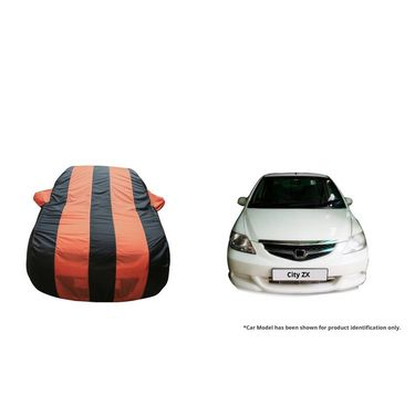 Autofurnish Stylish Orange Stripe Car Body Cover For Honda City ZX -AF21158