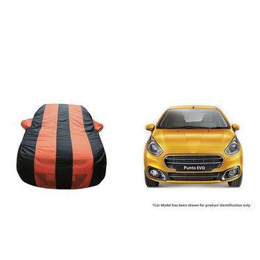 Autofurnish Stylish Orange Stripe Car Body Cover For Fiat Linea  -AF21181