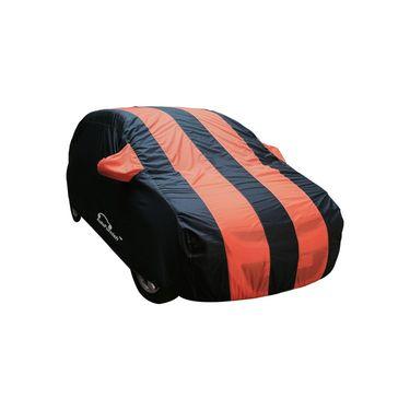 Autofurnish Stylish Orange Stripe Car Body Cover For Mahindra Quanto  -AF21200