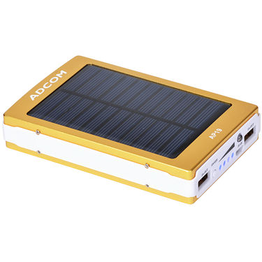 Adcom AP19 11000mAh Solar Power Bank - Gold