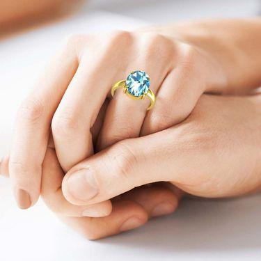 Kiara Jewellery Certified Aquamarine 3.0 cts & 3.25 Ratti Aquamarine Ring_Aqry